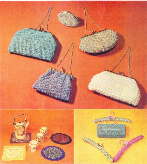 Knitting And Crochet Books : PDF Vintage Knitting and Crochet Pattern Book - Bags, Tea Cosy, Place ...