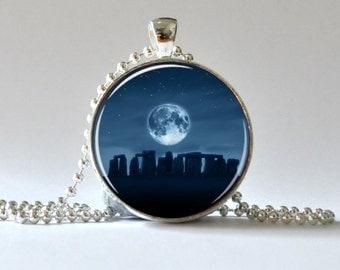 Stonhenge Pendant. Sontehenge Necklace. Full Moon Necklace.  Blue. Photo Pendant, Art Pendant, Glass Dome Pendant, Altered Art Pendant 017