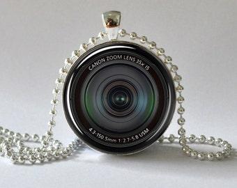 Camera Lens Pendant. Camera Necklace. Camera Jewelry Photo Pendant. Art Pendant. Glass Dome Pendant.  046