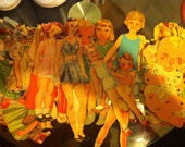 Large lot of very old Scandinavian paper dolls