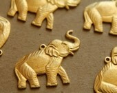 2 pc. Raw Brass Elephant Charms: 27mm by 21mm - made in USA   RB-148