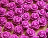 30 pc. Deep Lilac Glossy Rose Cabochon 10mm | RES-184
