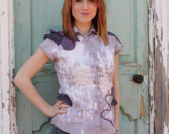 UPCYCLED shirt in FLORAL and LACE hand bleached