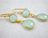 Aqua Mint Gold Dangle Ear...