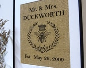 Wedding Sign burlap  Wall Decor Print Personalized engagement gift