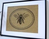 75% OFF SALE Bee Art on burlap wall decor print