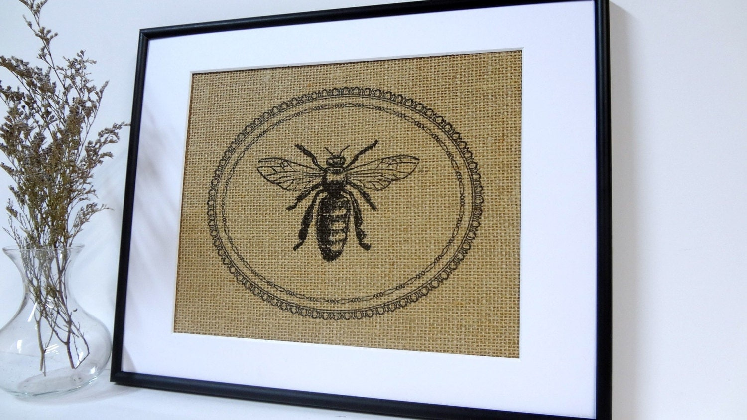 75 Off Sale Bee Art On Burlap Wall Decor By