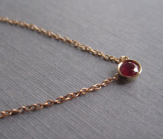Petite Ruby Bezel Solitaire Necklace in 14K Gold