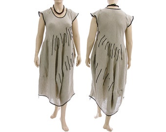 Boho linen maxi dress, linen balloon dress in natural with black, summer linen dress / lagenlook for plus size women L-XL, US size 14-18