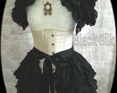 Steampunk Bustle  Silk Tie On Bustle Skirt Lolita Victorian NOCTURNELLE  By Ophelias Folly