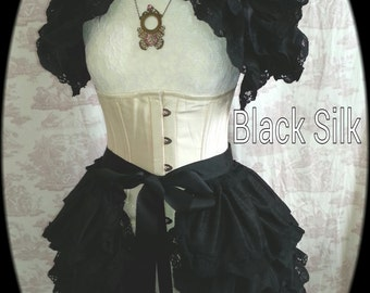 Steampunk Bustle  Silk Tie On Bustle Skirt Lolita Victorian NOCTURNELLE  By Ophelias Folly