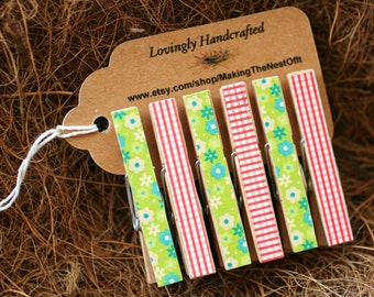 Clothespins, Pink and Green, Mini Wood Clothes Pin, Set of 6
