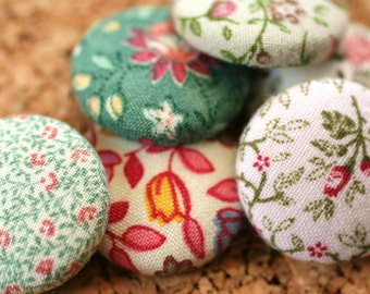 Feedsack Fabric Covered Button Pushpins, Magnets, Set of 6