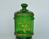 Emerald Green Glass Covered Dish Biscuit Barrel Northwood Glass Co