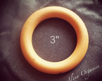 Set of 5 Wooden Teething Rings - 3 Inch Maple Hardwood - CPSIA Compliant