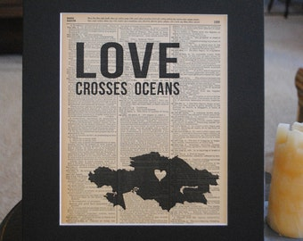 Love Crosses Oceans (Kazakhstan) - Vintage Adoption Word  Art