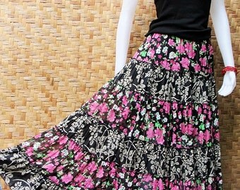 Thai Cotton & Chiffon Patchwork Elastic waist Long Skirt