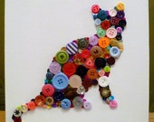 Purrrfect Posture - unique handcrafted rainbow button wall art