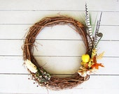 Autumn/Fall Bird Style Grapevine Wreath 24""