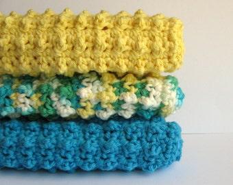 Cotton Crochet Dishcloth 3 Piece Set - Tropical Delight Collection