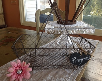 Rustic Wedding Card Box,Personalized, Wire Wedding Basket.