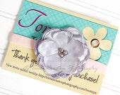Satin Flower Headband- Silver, Light Pink Velvet -SHIPS FREE!