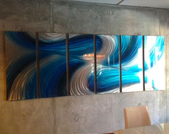 Metal Wall Art Aluminum Decor Abstract Contemporary Modern Sculpture Hanging - Huge 10' Echo in Blue