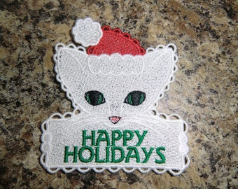 Embroidered Magnet - Happy Holidays  -  Cat