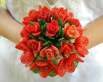 Shades of Red French Beaded Flower Bridal Bouquet