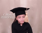 Crochet Graduation Cap (Sizes 0 to 8 Years) - PATTERN ONLY