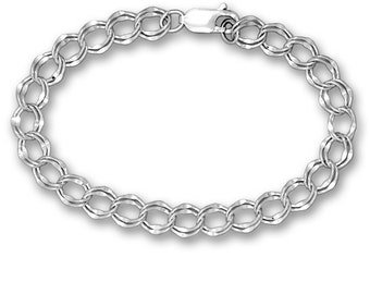 8 and One Quarter Inch Silver Charm Bracelet