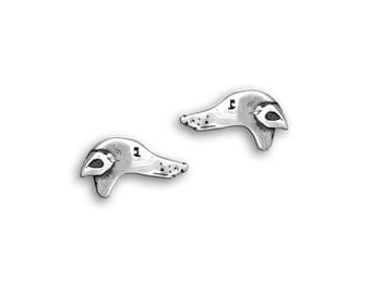 Silver Greyhound Post Earrings