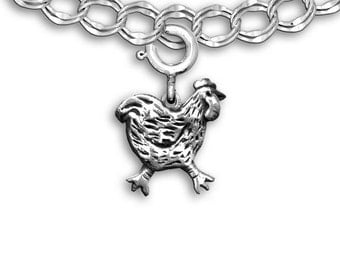 Sterling Silver Chicken Charm