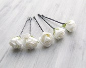 White  Flowers Bobby Pins, Roses Bridal Hair Pins, Woodland, Bridal Hair Clip, Flower Clips, Wedding Hair Accessory, set of 5