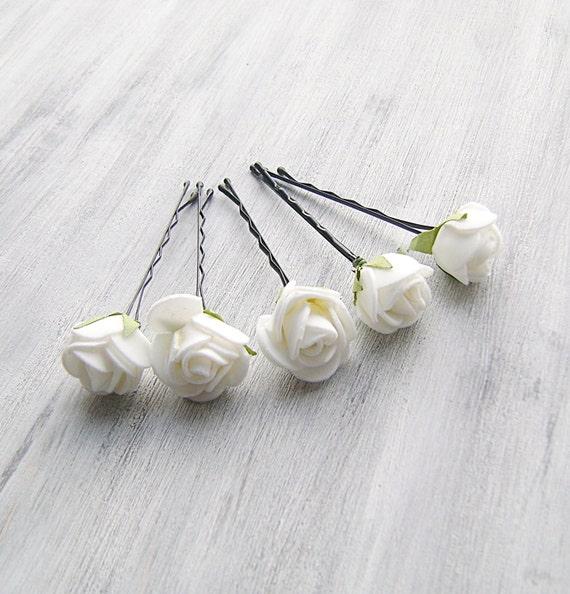 White Flower For Hair Wedding: White Flowers Bobby Pins Roses Bridal Hair Pins Woodland