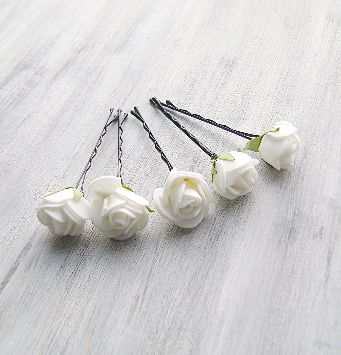 Hair Pins : White Flowers Bobby Pins Roses Bridal Hair Pins by PrettyNatali