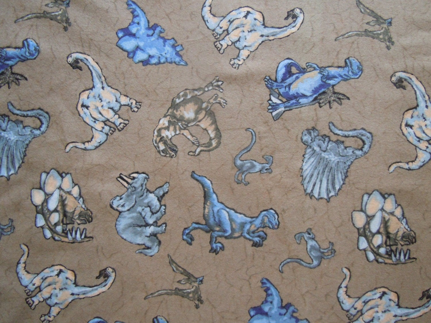 Green dinosaur print cotton flannel fabric yardage remnant for Dinosaur fabric