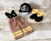 Firefighter set.Crochet Firefiter set.Hat,pants and boots.