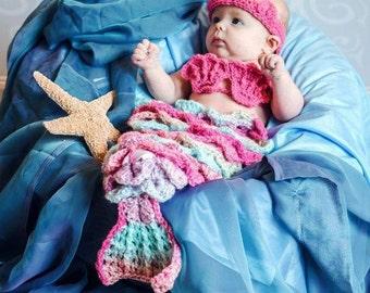Crochet Mermaid cape ,tiara and seashell top. Photography prop.