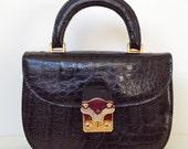"Beautiful Black Crocodile Handbag from the 1960s Created by ""Helene"""