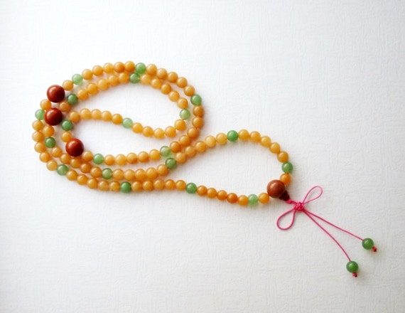 108 Mala Beads, Mala Necklace, 108 Jade Beads Mala, Tibetan Buddhist Prayer Mala Necklace.