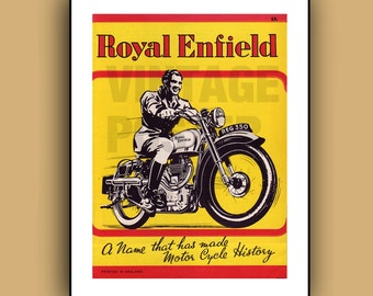Royal Enfield Motorcycles Vintage Advertising Poster Print in Full Color