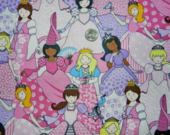 Pretty Princesses with Glitter - Fabric By The Yard