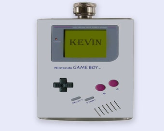 TWO Gameboy, game boy Personalized Custom Flask, game boy, nintendo