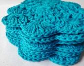 Crochet coasters set of 6  Mini Dollies - in Blue Tourqouis
