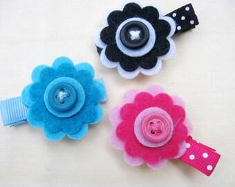 Baby Girl Felt Flower Hair Clip Set, Girls Barrette, Hair Accessories