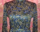Vintage 60s 70s Mod Hippie Blue & White Psychedelic Paisley Print Tunic Dress Small- Medium