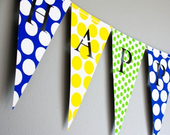 Happy Birthday Banner (Large Bunting, Sign, Flags, Pennants) in Bold Dots . Perfect for Party Decoration