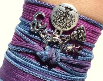 Tree of Life Silk Wrap Bracelet Om Buddha Zen Yoga Jewelry Purple Blue Meditation Namaste Earthy Unique Gift For Her Under 50 Item Y15