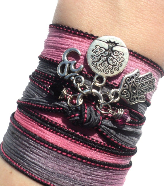 Hamsa Tree of Life Om Silk Wrap Bracelet Yoga Jewelry Bat Mitzvah Namaste Evil Eye Anklet Necklace Earthy Gift For Her Under 50 Item S62